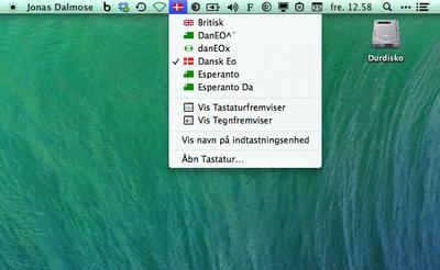 Esperanto-tastaturer til OSX menu